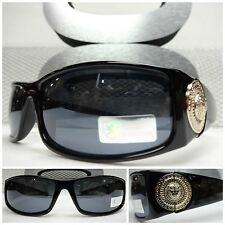 HIP HOP GANGSTER BIKER Style SUNGLASSES Thick Black Frame Gold Logo Dark Lens
