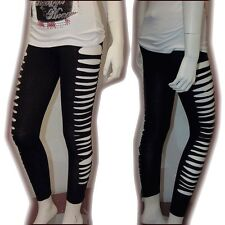 SO~ Cute & Sexy Punk Ripped Slit Cut-out Stretchy Cotton Leggings BK Sz M