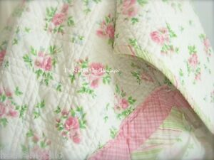 Shabby Pink Roses Chic Cotton Rag Queen Bed Quilt Bedspread Coverlet ON SALE