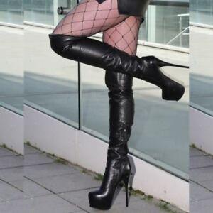 UK Womens Knee High Boots Platform Round Toe Heels Boots Shoes Big Size Clubwear