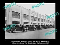 OLD POSTCARD SIZE PHOTO OF INTERNATIONAL HARVESTER RAAF AMBULANCE LINE UP 1941
