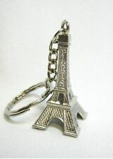 Silver EIFFEL TOWER Paris France KEYCHAIN KEYRING Purse Charm FRENCH THEME Favor