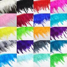 "(Ya)-Dyed Rooster/hen/chicken 3""-5"" feather Fringe Craft Trim Fascinator Ribbon"