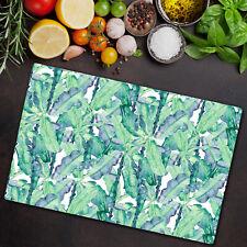 Glass Kitchen Chopping Board Aqua Banana Tropical Banana Leaf Print 80x52