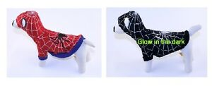 Spider Dog Costumes For Dogs Glow In The Dark Black and White Or Red and Blue