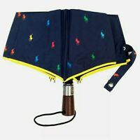 New RALPH LAUREN Navy Blue Automatic Open/Close Multi-Logo Umbrella Brolly Gift