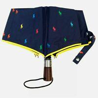 New RALPH LAUREN Navy Blue Automatic Open/Close Multi-Logo Umbrella Brolly Gift