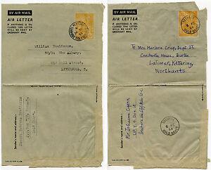 GOLD COAST AEROGRAMME STATIONERY 6d ASHANTI NEWTOWN + SECHERE KG6th 1952-54