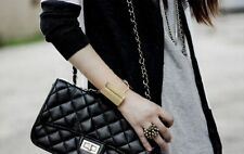 Gothic Punk Gold/Silver Wide Metallic Mirrored Cuff Chain Bracelet Bangle Unisex