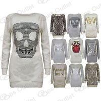 Womens Love Leopard Heart Owl Full Sleeves Jumper Ladies Sweatshirt Soft Sweater