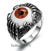 Gothic Red Evil Eye Skull Claws Stainless Steel Ring Mens Boys Band Size 7-12
