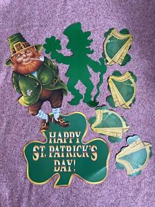 Lot of St Patricks Day Leprechaun Vintage Diecut Die Cut Out Decorations Beistle