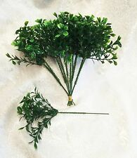 "12 Boxwood Picks 9"" ~ Filler Greenery Silk Wedding Flowers Centerpieces Plastic"