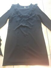 Ladies H&M plain black frill detail belted shift dress size 12 FAB