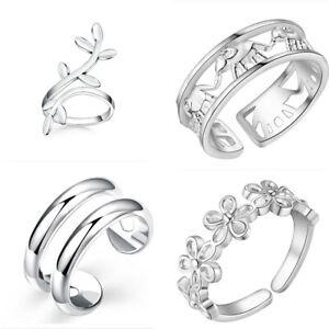 Fashion 4pcs 925 silver women lady wedding charms cute solid Ring set Jewelry