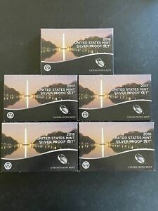 LOT of (5) UNITED STATES SILVER PROOF SETS 2016 (2), 2017 (2) & 2018 (1)
