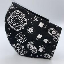 **NEW** Black Bandana Paisley Cotton Face Mask w/ Adjustable Straps
