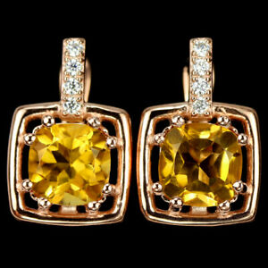REAL AAA ORANGISH YELLOW CITRINE CUSHION & WHITE CZ STERLING 925 SILVER EARRING