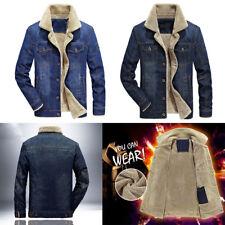 Men's Fleece Lined Winter Warm Coat Trucker Denim/Jean Fur Collar Jacket New Lot