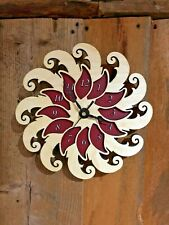 """Blossom 10"""" Wall Clock - Wooden w/Red Background - Laser Crafted Gift"""""""