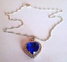 ~WOW! New Designer Cabochon Crystal  Silver Tone Heart Pendant Charm NECKLACE