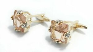 Rose Gold Coloured Cufflink with Big Golden Stone Crystals with FREE GIFT Pouch