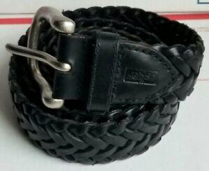 Men's LEVI'S JEANS Braided Woven Genuine Leather BLACK Belt Sz 38/95!