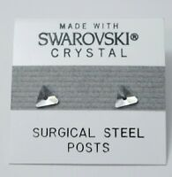 Small Silver Crystal Triangle Stud Earrings 6mm Made with Swarovski Elements