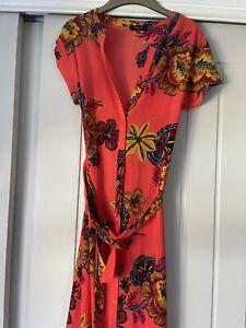 Coral Pink Floral Dress Summer Dress Size 12