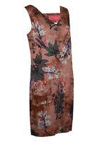 Womens White Pink Floral Pocket V Neck Sleeveless Summer Linen Blend Dress