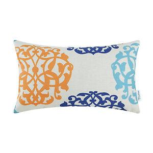 "CaliTime Bolster Cushion Throw Pillows Case Covers Floral Geometric Decor 12x20"""