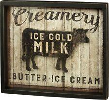 Dairy Cow Wood Sign Urban Farmhouse Creamery Farm Primitives by Kathy Rustic NWT