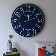 b2b931435 Large Hamptons Coastal Blue Wooden Wall Clock 60cm Home Office Kitchen Decor