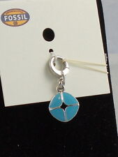 Fossil Brand Silvertone Blue Enamel Signature Bracelet Charm JA5022 $24
