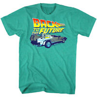 Back to The Future DeLorean BTTF Chrome Car Mens Green T Shirt Movie Vintage Top