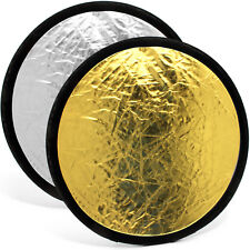 "30cm (12"") 2-in-1 Collapsible Round Disc Studio Light Reflector - Gold & Silver"