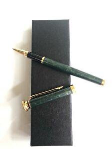 Luxury Dark Green Marble Metal Steel Ink Pen Business Writing Roller Ballpoint