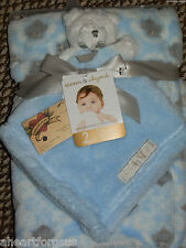 BLANKET BEYOND LOT 2 SECURITY BEAR / ALL PURPOSE OWL BLUE WHITE COMBO LOVEY BOY