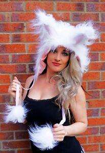 Funki-B cute faux fur rabbit bunny ears fancy dress lined fluffy hood costume