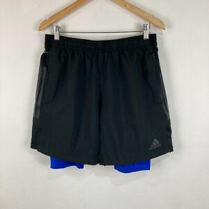 Adidas Mens Shorts Size L Large Black Elastic Waist Lined