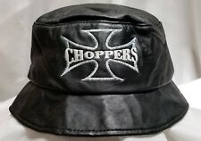 Choppers Iron Cross Leather Bucket Hat