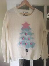Ladies Cream pink Christmas Jumper Size 12 New Look