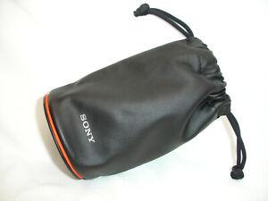 "SONY LENS Pouch Travel Soft Carry BAG Case CM - Medium w. orange line 6"" x 3.5"""