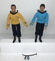 """Star Trek Action Figures Lot of 2 Spock + Captain Kirk 8"""" Vintage 1974 Mego Corp"""