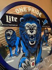 DRINK DRINK!! - MILLER LITE BEER LYONS FOOTBALL -1 PRIDE 3FT MIRROR SIGN nos