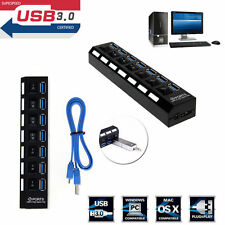 Black 7 Port USB 3.0 Hub On/Off Switches+AC Power Adapter Cable for PC Laptop #@