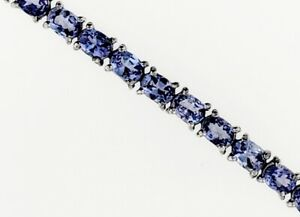 """Sterling Silver 925 ~7.63ct Natural Tanzanite Tennis Bracelet Fits 7.0"""" NEW"""