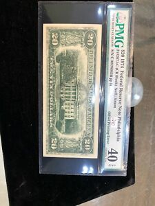 Offset Printing Wet-ink Error Note 1974 $20 FRN Partial Front To Back PMG40 EPQ