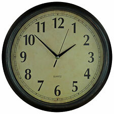 Dark Brown Large 35.5cm Round Solid Rustic Wall Clock
