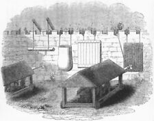 SIEGES. Defending stone walls against Battering-Ram 1845 old antique print